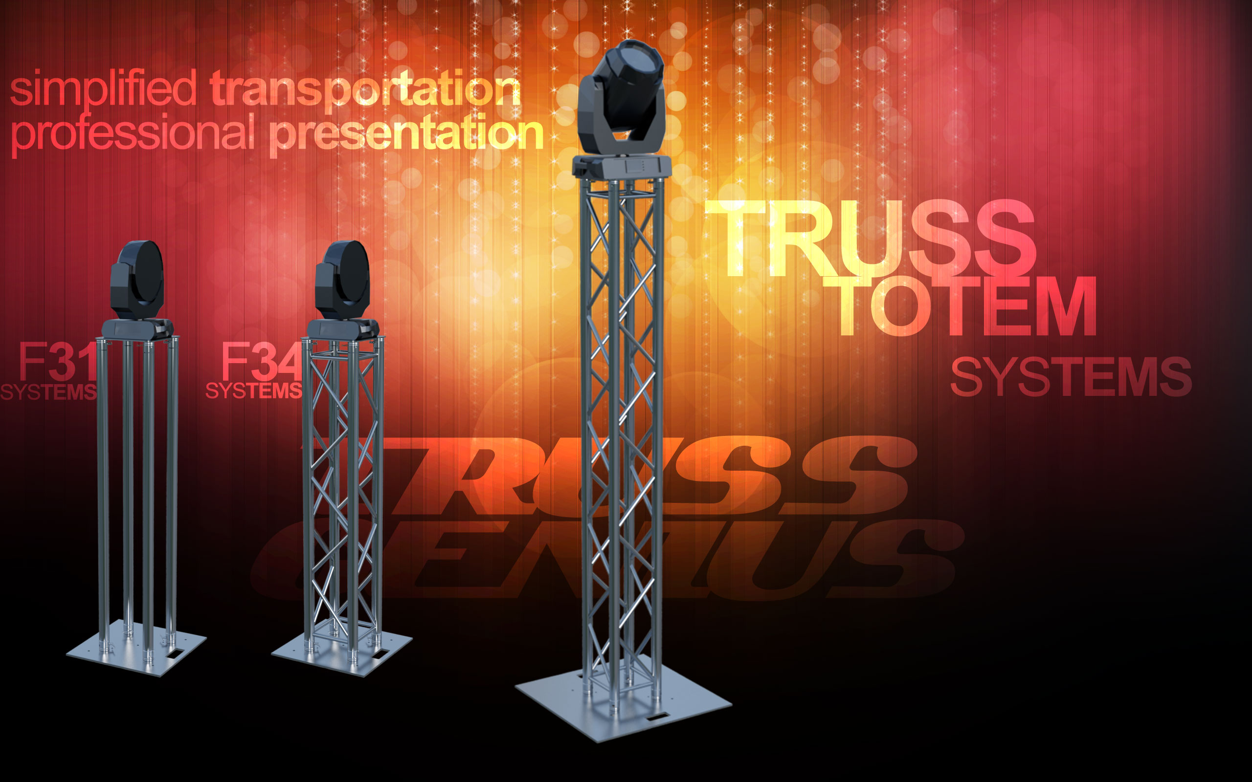 aluminum truss, square truss, box truss, f34 truss, f24 truss, tube totem, glow totem, f31 single tube, stage trussing, lighting truss, milos, trusst, global truss, truss genius
