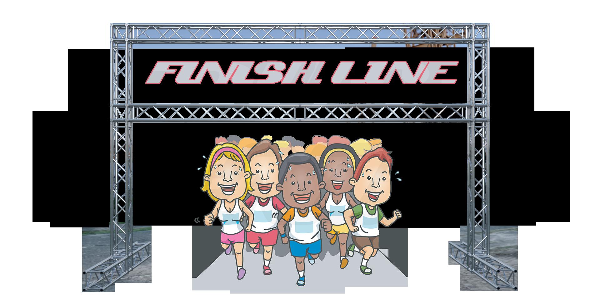 marathon finish lines, truss finish lines, aluminum truss, 5k run, milos, global truss, road races, multi sport, events, race equipment, obstacle course races, trail race