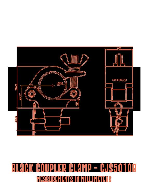 Black Coupler Clamp CJS5010B Detailed Drawing