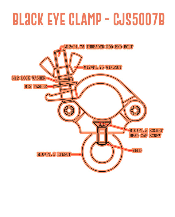 Black Eye Clamp CJS5007B Detail Callouts