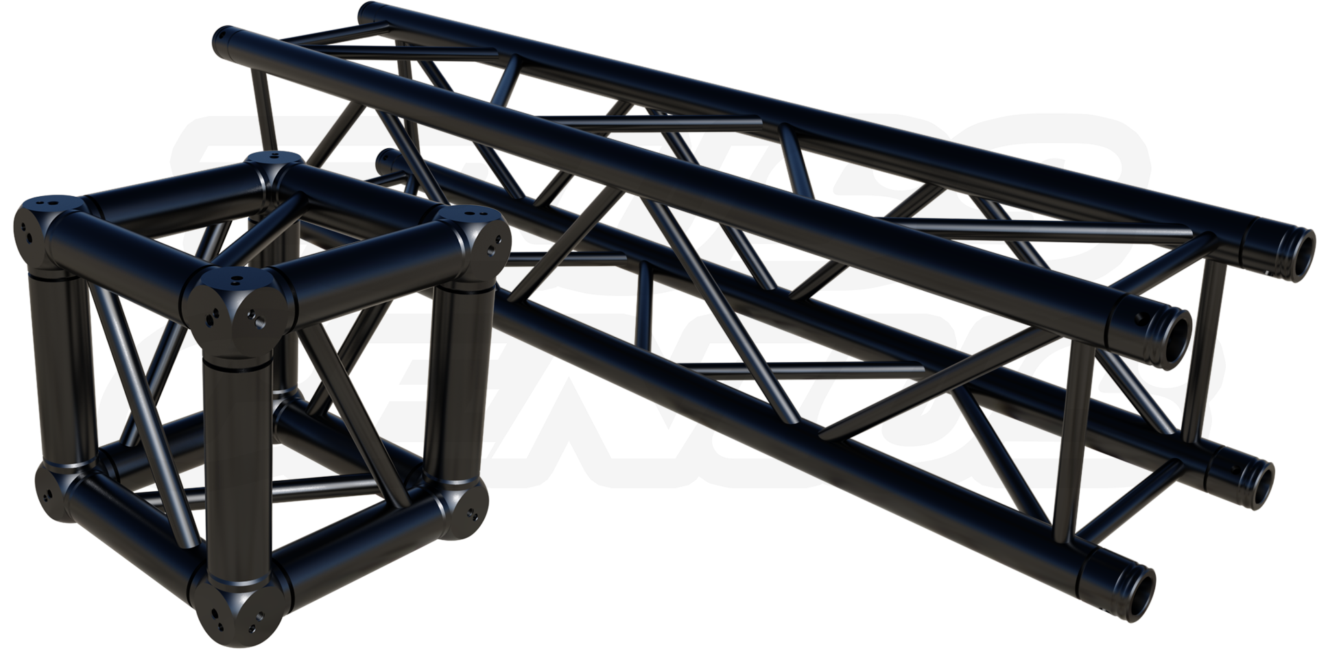 black, powder coat, truss, f34 square truss, aluminum truss, stage trussing, custom truss finish, global truss, truss genius, lighting truss