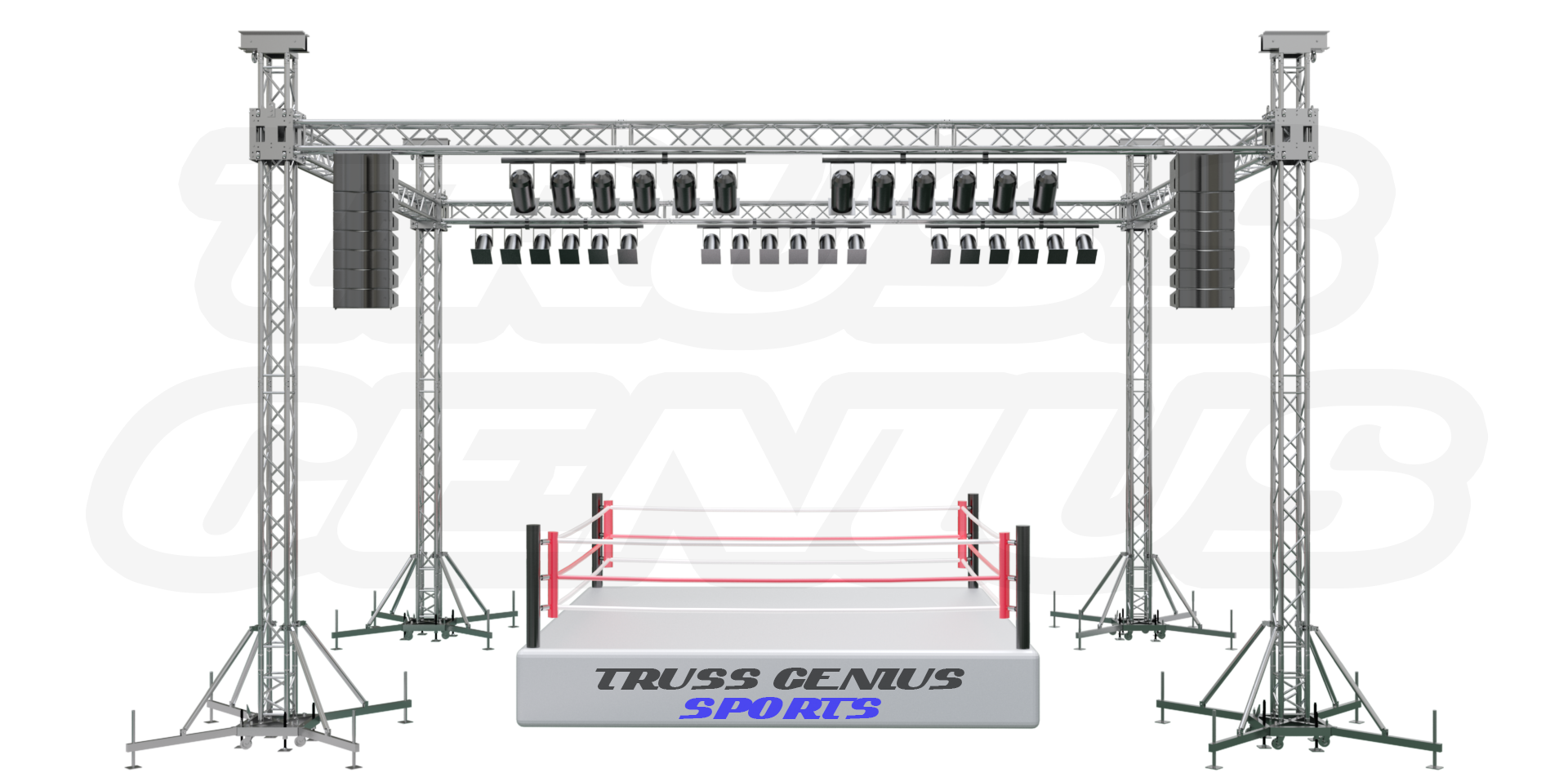 boxing, boxing ring, aluminum truss, global truss, ground support, sport event truss, truss system, truss genius