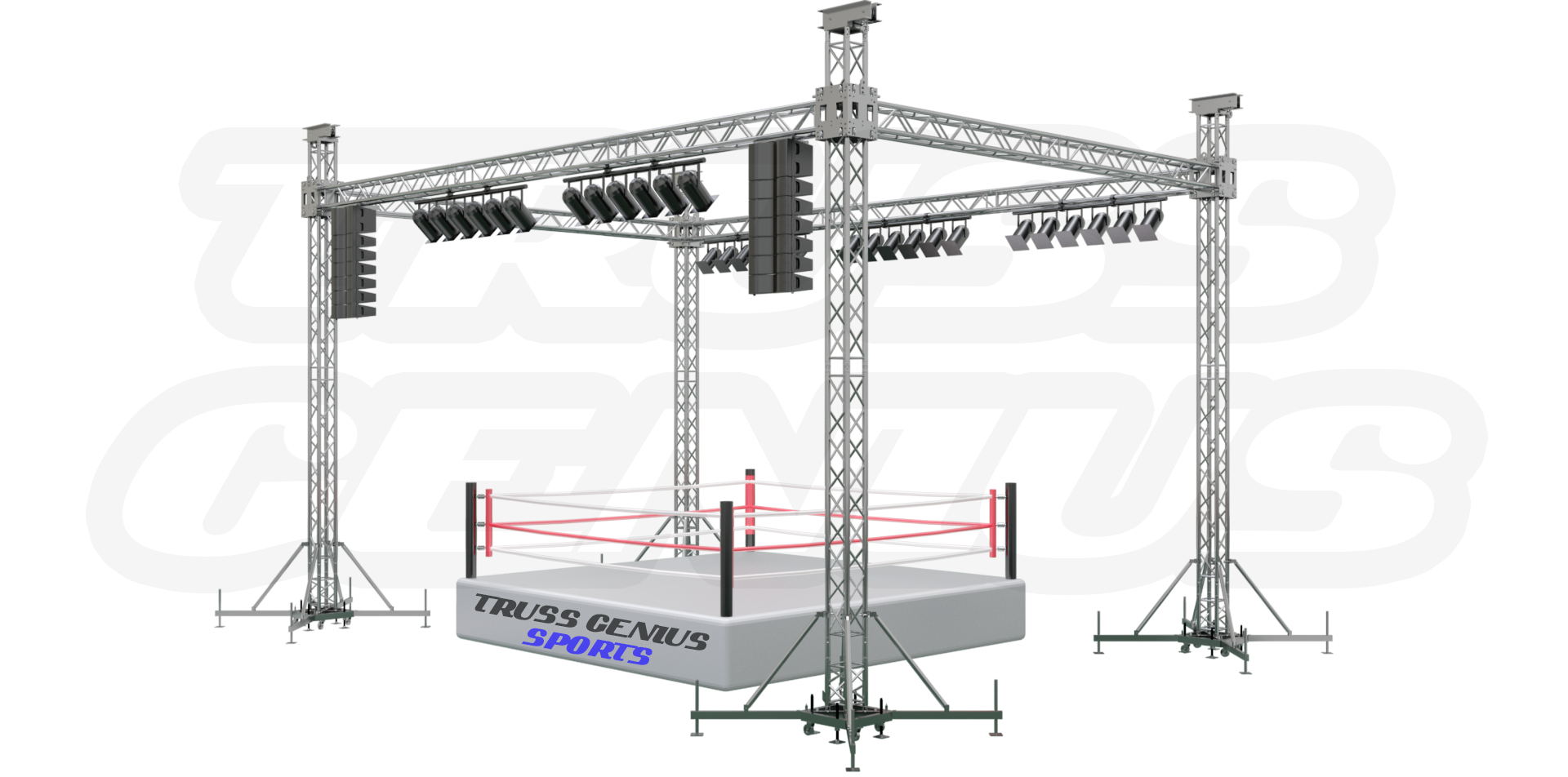 boxing, boxing ring truss, aluminum truss, global truss, ground support, sport event truss, truss system, truss genius, boxing competition, square truss