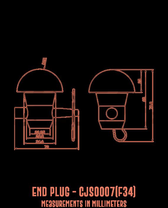 End Plug CJS0007(F34) Detailed Drawing