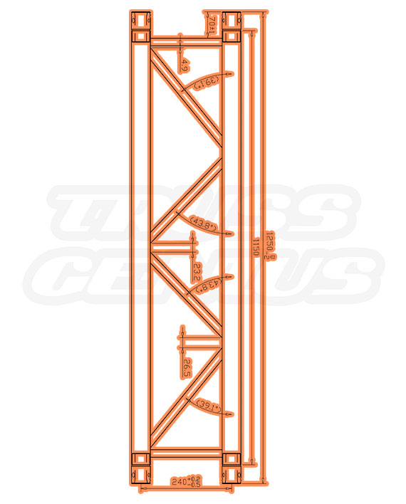 SQ-4111-1250 Measurements F34 Square Truss
