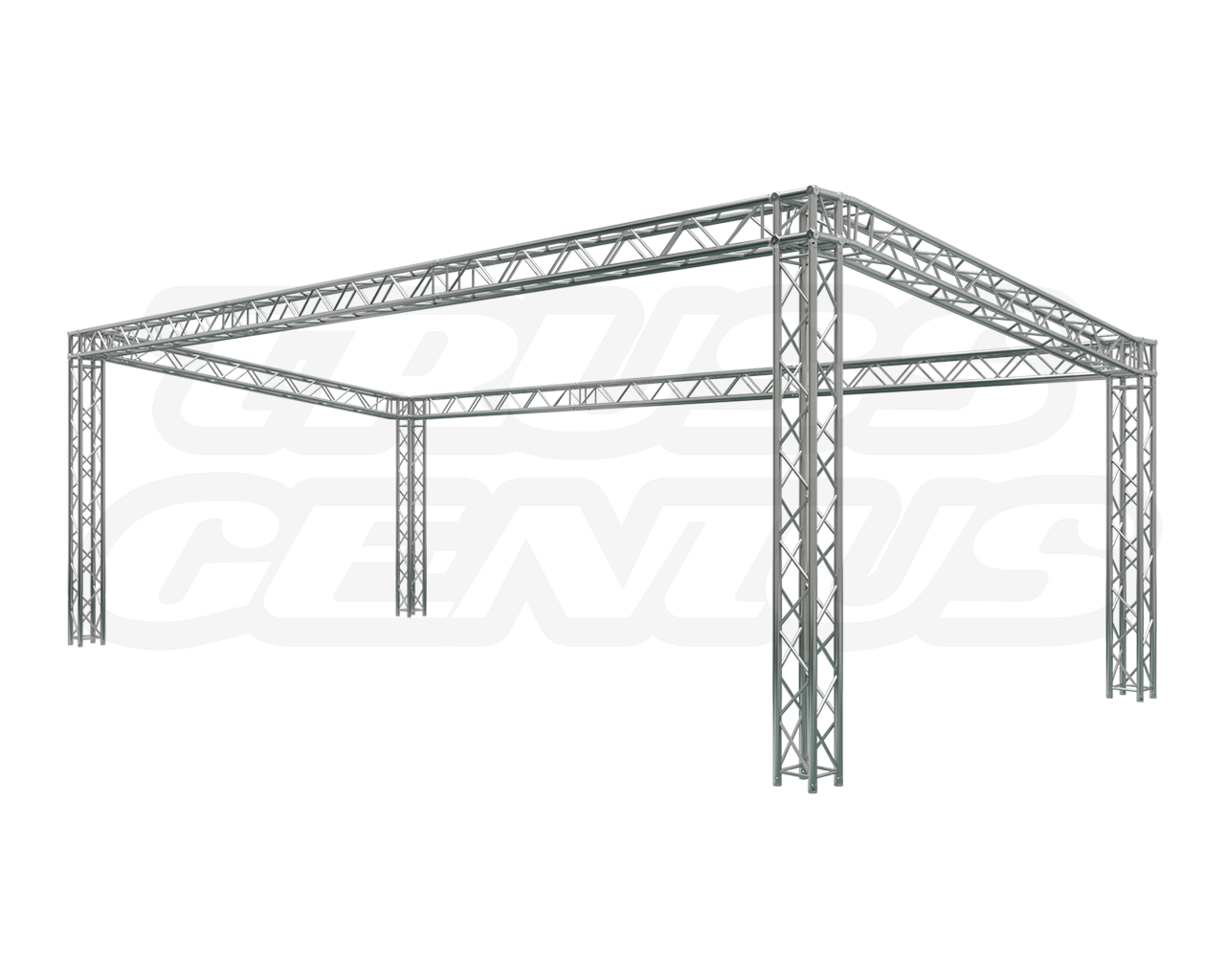 sloped, slope, aluminum truss, global truss, truss genius, angled booth, square trussing, stage truss, lighting trusses, corner view