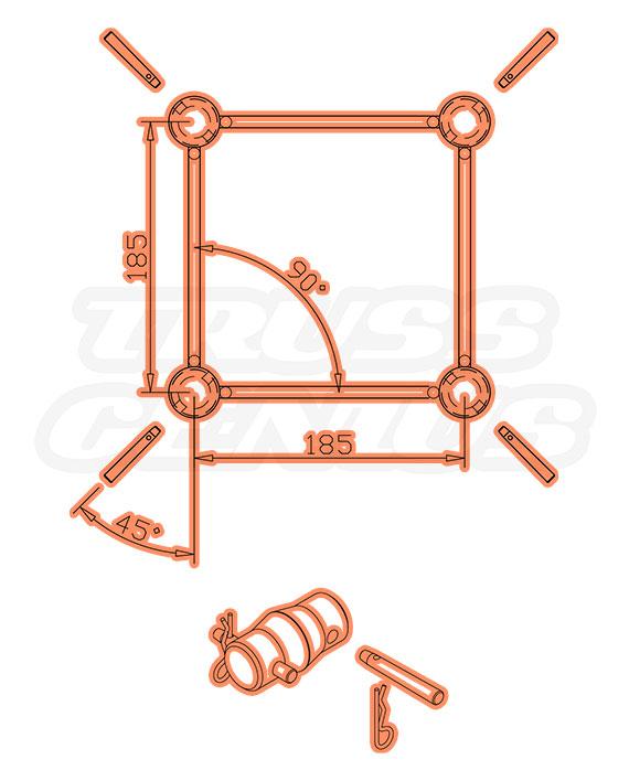 SQ-F24-200 Dimensions F24 Square Truss