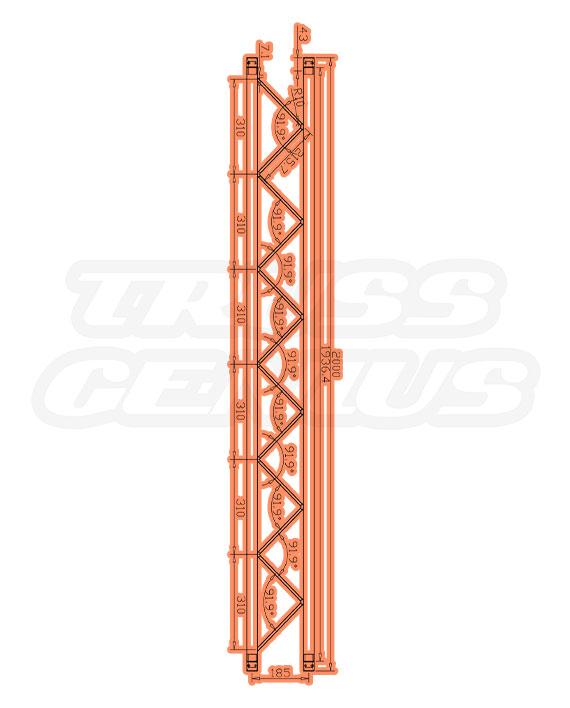 SQ-F24-200 F24 Square Truss Measurements