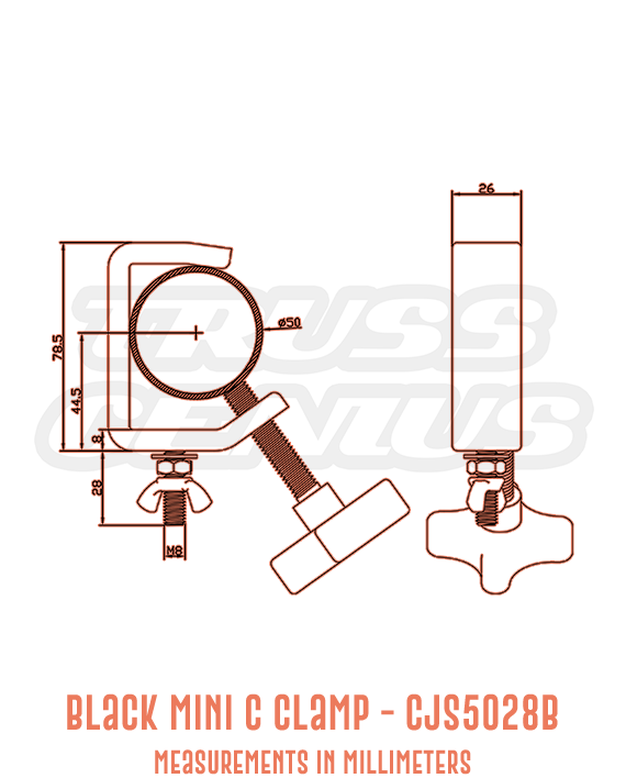 Black Mini C Clamp CJS5028B Detailed Drawing
