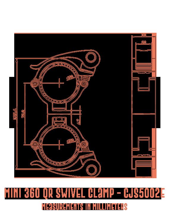 Mini 360 QR Swivel Clamp CJS5002E Detailed Drawing