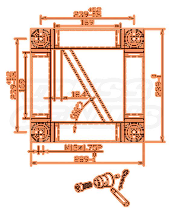 ST-UJB-12 Black Dimensions F34 Square Trussing