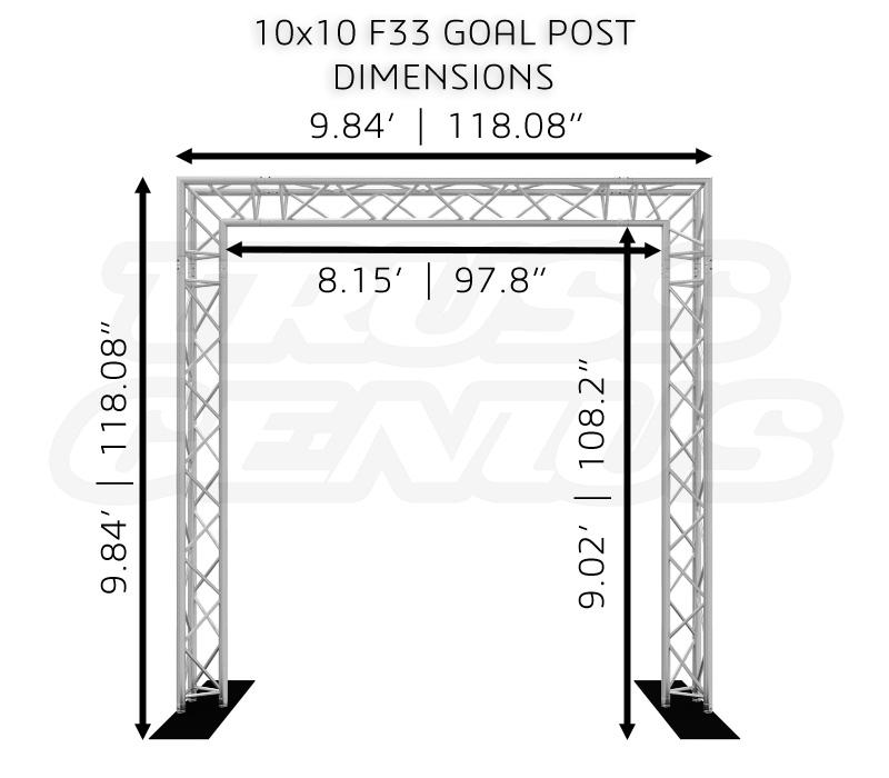 10x10 F33 Triangular Truss Goal Post Dimensions