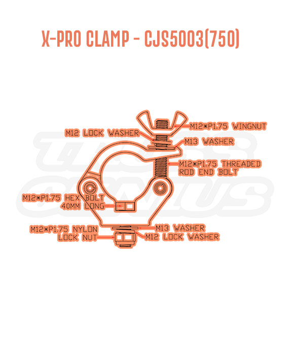 X-Pro Clamp CJS5003(750) Detail Callouts