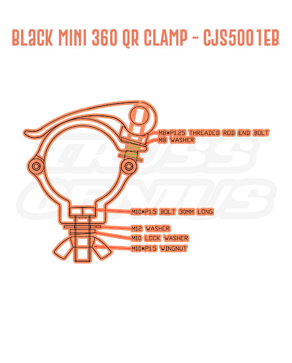 Black Mini 360 QR Clamp CJS5001EB Detail Callouts