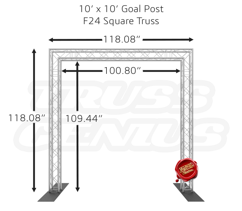 10-Foot Goal Post System F24 Square Truss Dimensions
