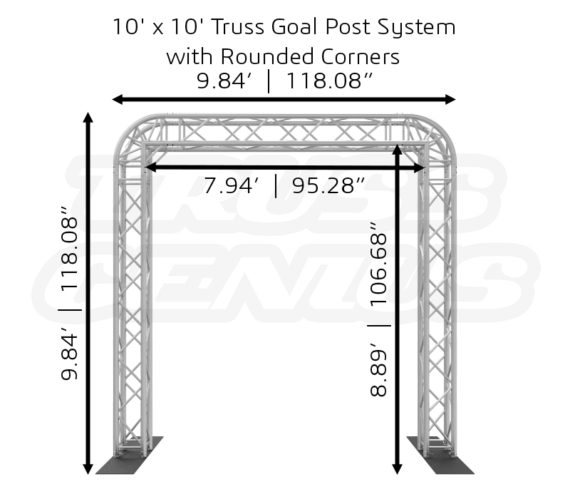 10' x 10' Truss Goal Post System with Rounded Corners Dimensions