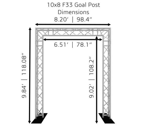 10x8 F33 Truss Goal Post Dimensions