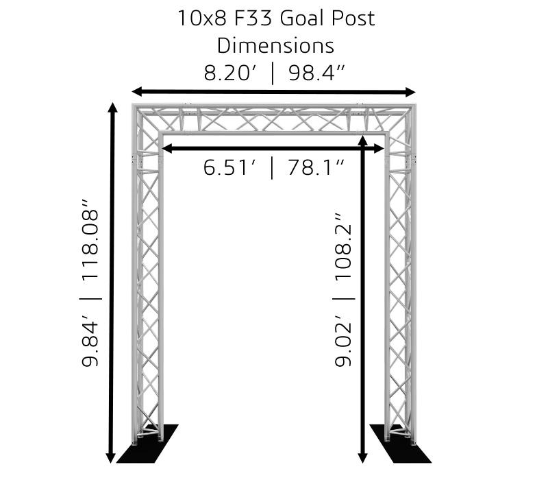 10x8 F33 Truss Goal Post Dimensions