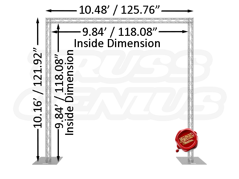 10' x 10' F14 Mini Square Truss Goal Post System Dimensions