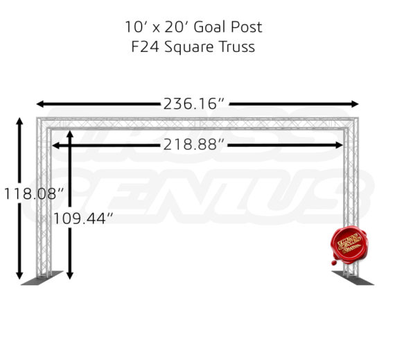 10x20 Goal Post Truss System Dimensions