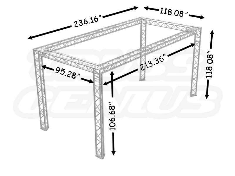 10u2032 X 20u2032 Truss Trade Show Booth U2013 Modular F33 Triangular Truss System  Dimensions