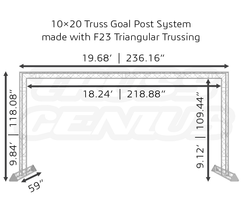 10×20 Truss Goal Post System made with F23 Triangular Trussing Dimensions