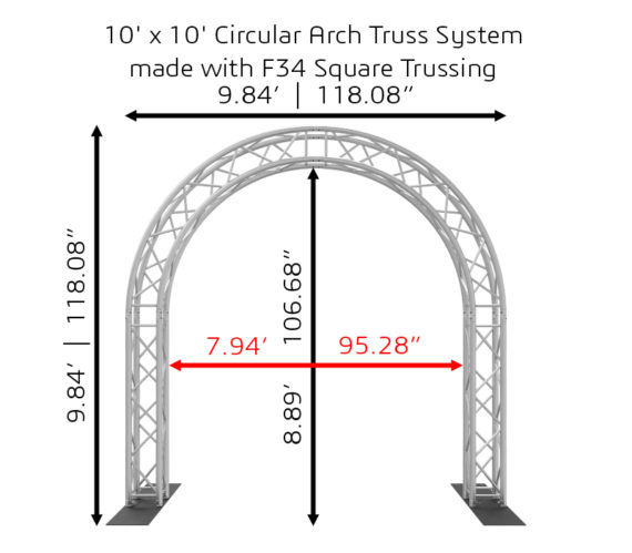 10'x10' Circular Arch Truss System made with F34 Square Trussing Dimensions