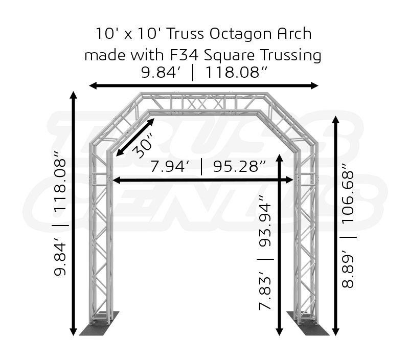 10' x 10' Truss Octagon Arch made with F34 Square Trussing Dimensions