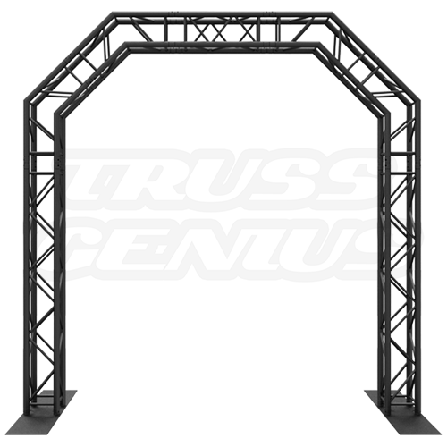 Goal Post F34 Square Truss System Octagon Arch 10x10 Matte Black Powder Coat