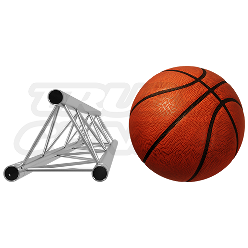 F23 Triangular Truss Relative Size Compared To A Basketball