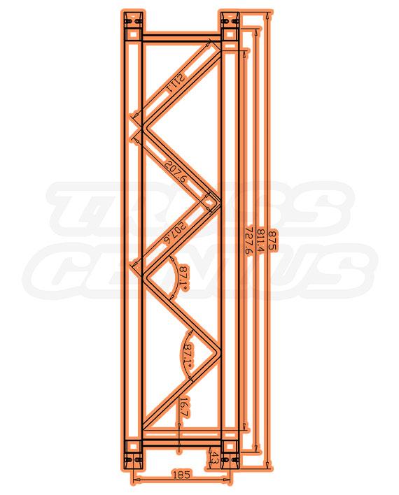 SQ-F24-875 F24 Square Truss Measurements