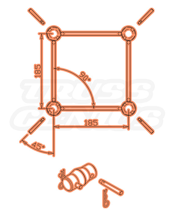 SQ-F24-250 Dimensions F24 Square Truss