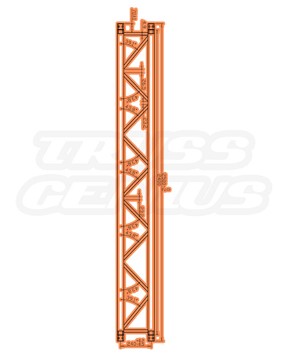 SQ-4113 Black Measurements F34 Square Truss