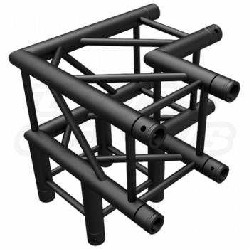 SQ-4126 Black Global Truss 3-Way 90-Degree Fixed Angle Corner Matte Black F34 Square Truss