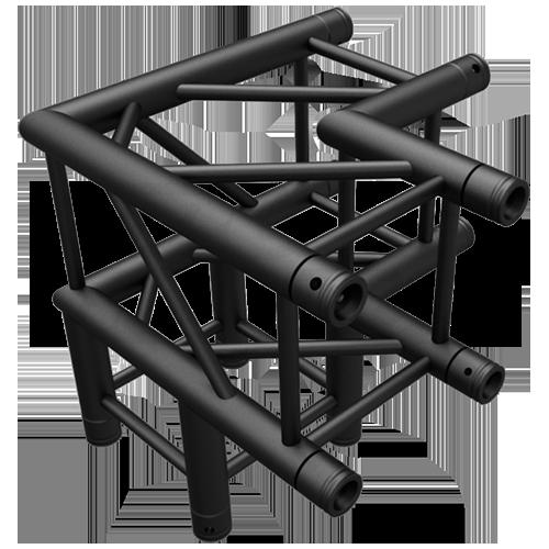 SQ-4126 Black Global Truss 3-Way 90-Degree Fixed Angle Corner Matte Black F34 Square Truss
