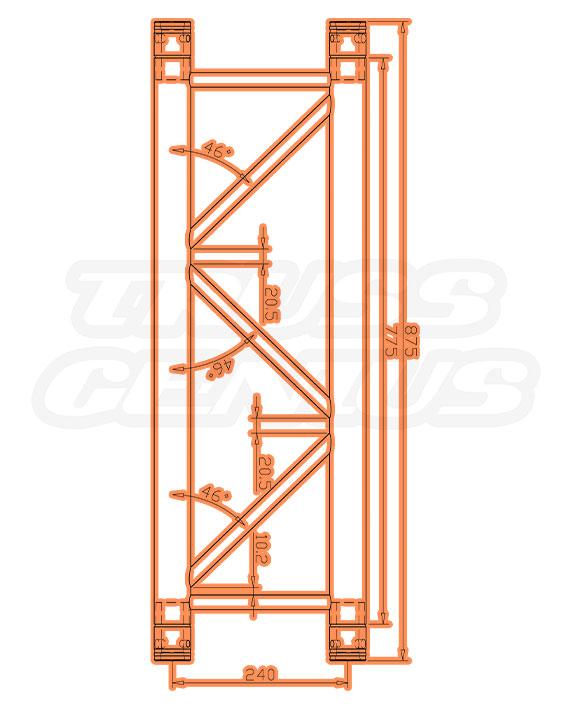 TR-4077-875 Dimensions F33 Triangle Truss