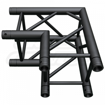 SQ-4121 Black Global Truss 2-Way 90-Degree Fixed Angle Corner Matte Black F34 Square Truss