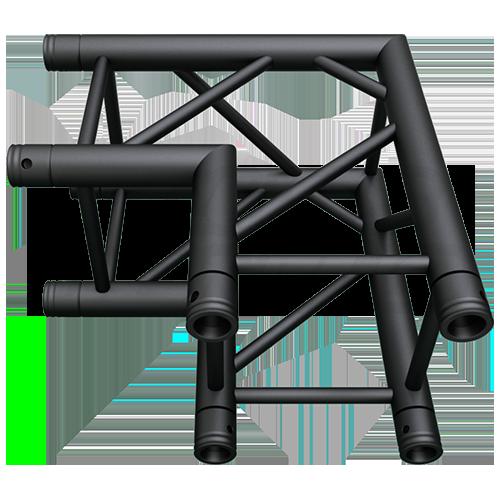 SQ-4121 Black Global Truss 2-Way 90-Degree Fixed Angle Corner Matte Black F34 Square Truss