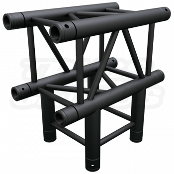 SQ-4129 Black Global Truss 3-Way T-Junction Matte Black F34 Square Truss
