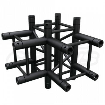 SQ-4130 Black Global Truss 4-Way T-Junction Matte Black F34 Square Truss