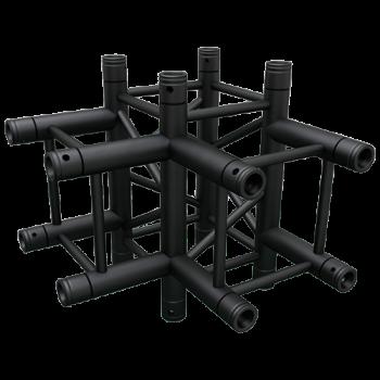 SQ-4130 Black Global Truss 4-Way T-Junction Matte Black F34 Square Truss