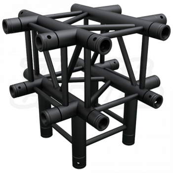 SQ-4134 Black Global Truss 5-Way T-Junction Matte Black F34 Square Truss