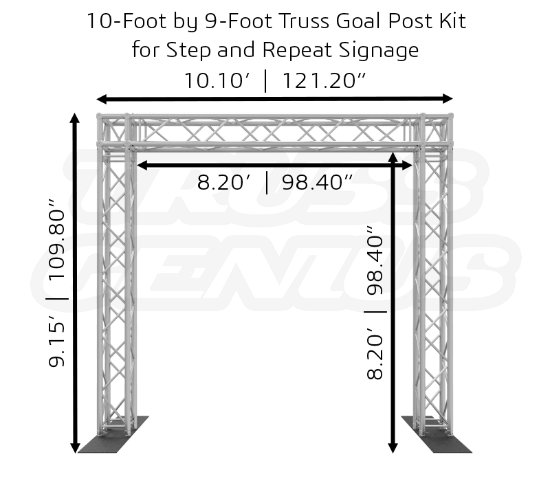 10-Foot by 9-Foot Truss Goal Post Kit for Step and Repeat Signage Dimensions