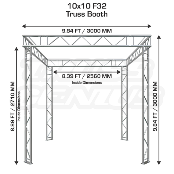 Trade Show Exhibit Display Booth 10×10 F32-101 Dimensions
