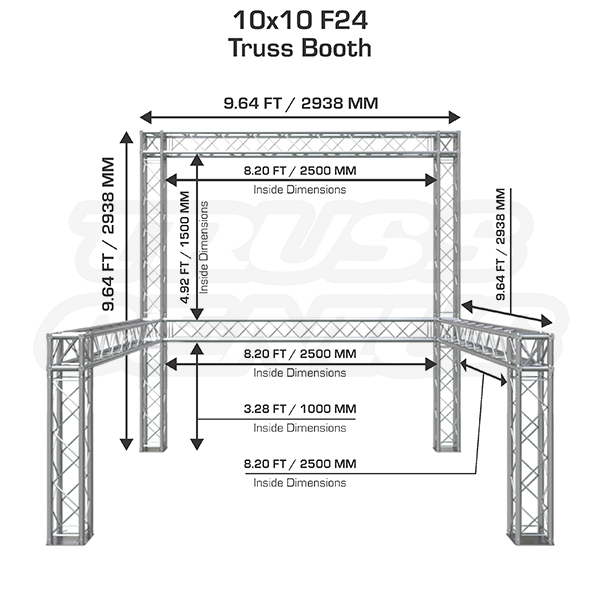 10x10 F24 Truss Trade Show Exhibit Display Booth Dimensions