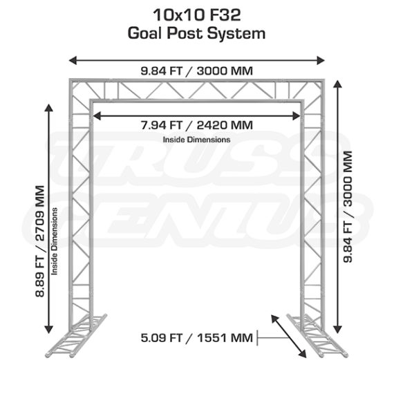 10x10 F32 Truss Goal Post System Dimensions