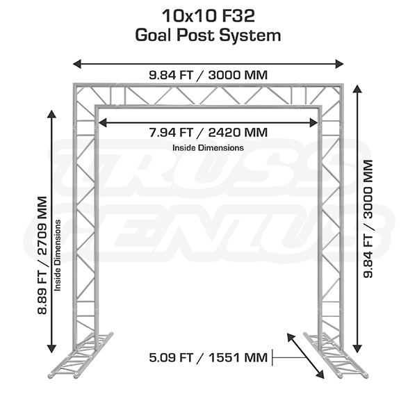 10x10 F32 Truss Goal Post System Dimensions