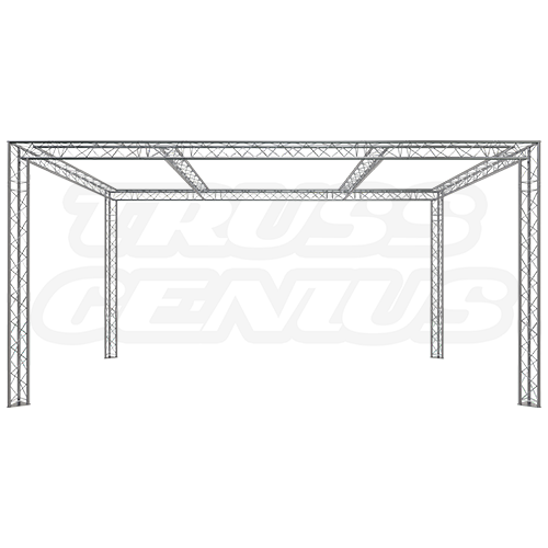 Trade Show Exhibit Display Booth 10×20 F23-202 Dual Center Beams Front Profile Photo