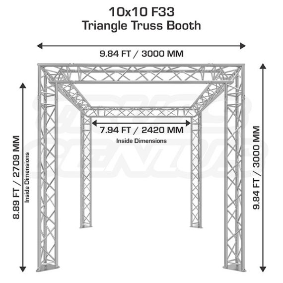 10x10 F33 Triangular Aluminum Truss Trade Show Booth Dimensions