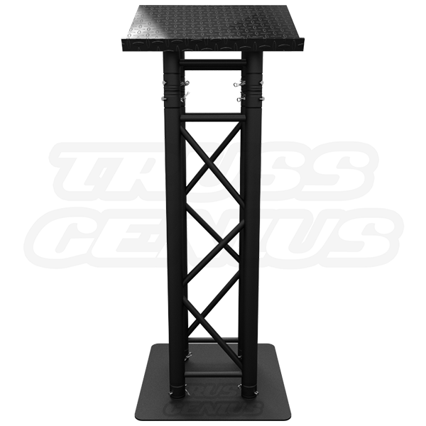 Matte Black Truss Lectern - Global Truss Matte Black Podium, Pulpit, Presentation Furniture